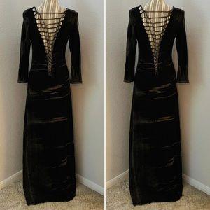Black Bead Tie-Dye Maxi Dress W Strap Twisted Back